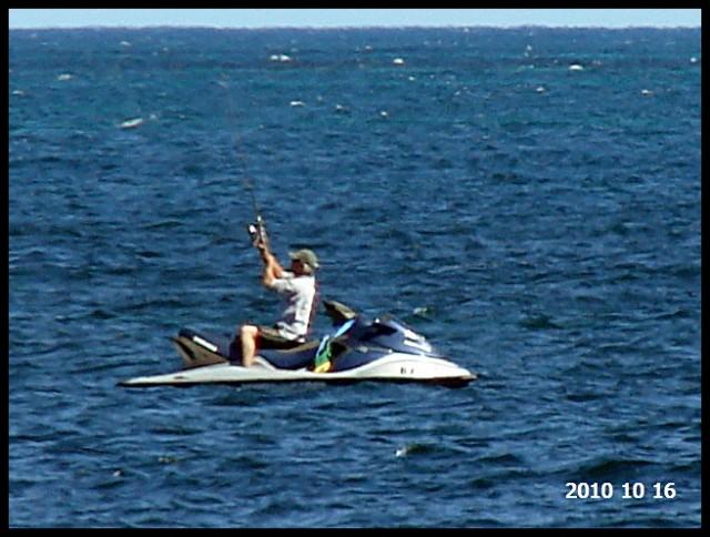 Jetskier fishing in Leeman