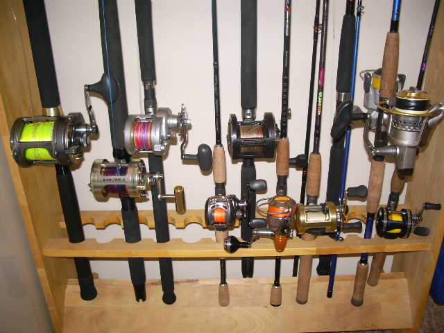 The gear all sorted out on new rod rack!