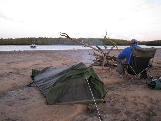 camp set up on an exposed sand bar