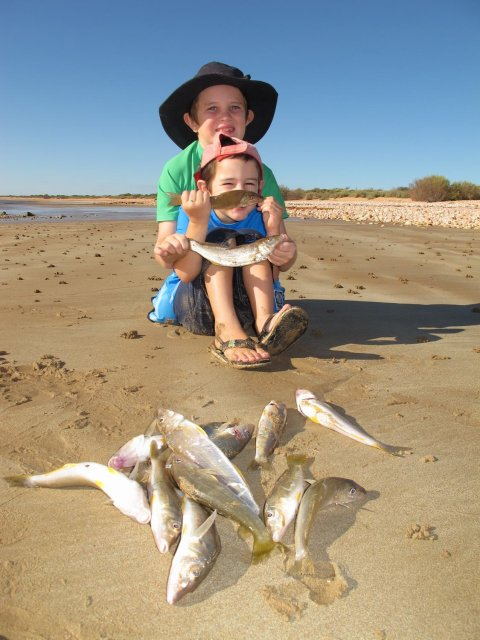 One for Deepwater, the Nelson boys with their whiting bag