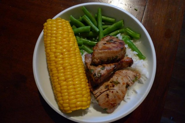YFT pan fried with corn, beans and rice