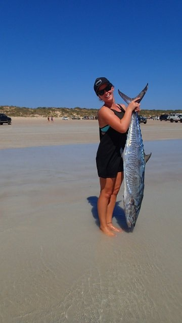 14.8 kg Mackeral @broome no wire on a tinny with the dog and missus