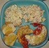 todays crays with Tupperware plate for Pete and Tony