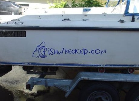Fishwrecked Blue Boat Sticker