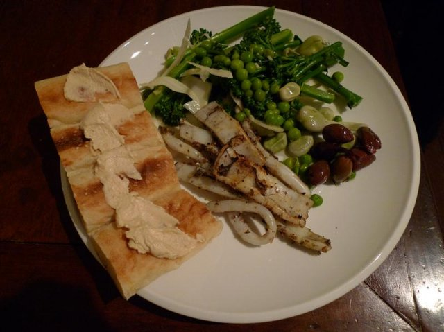 Middle Eastern spiced calamari with turkish bread and vegetable salad