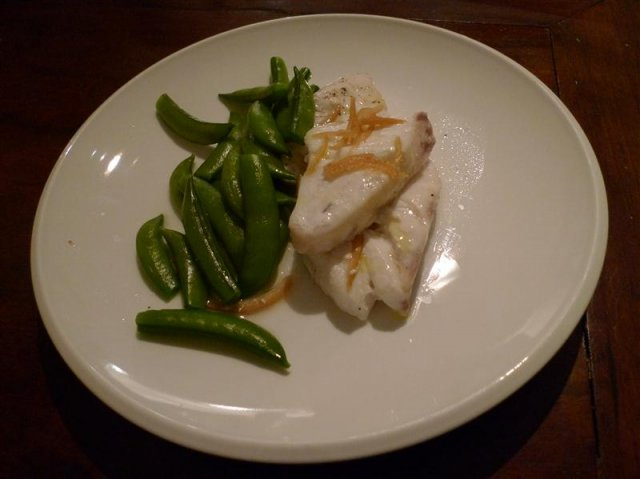 Steamed Bass Grouper with sugar snap peas and preserved lemon